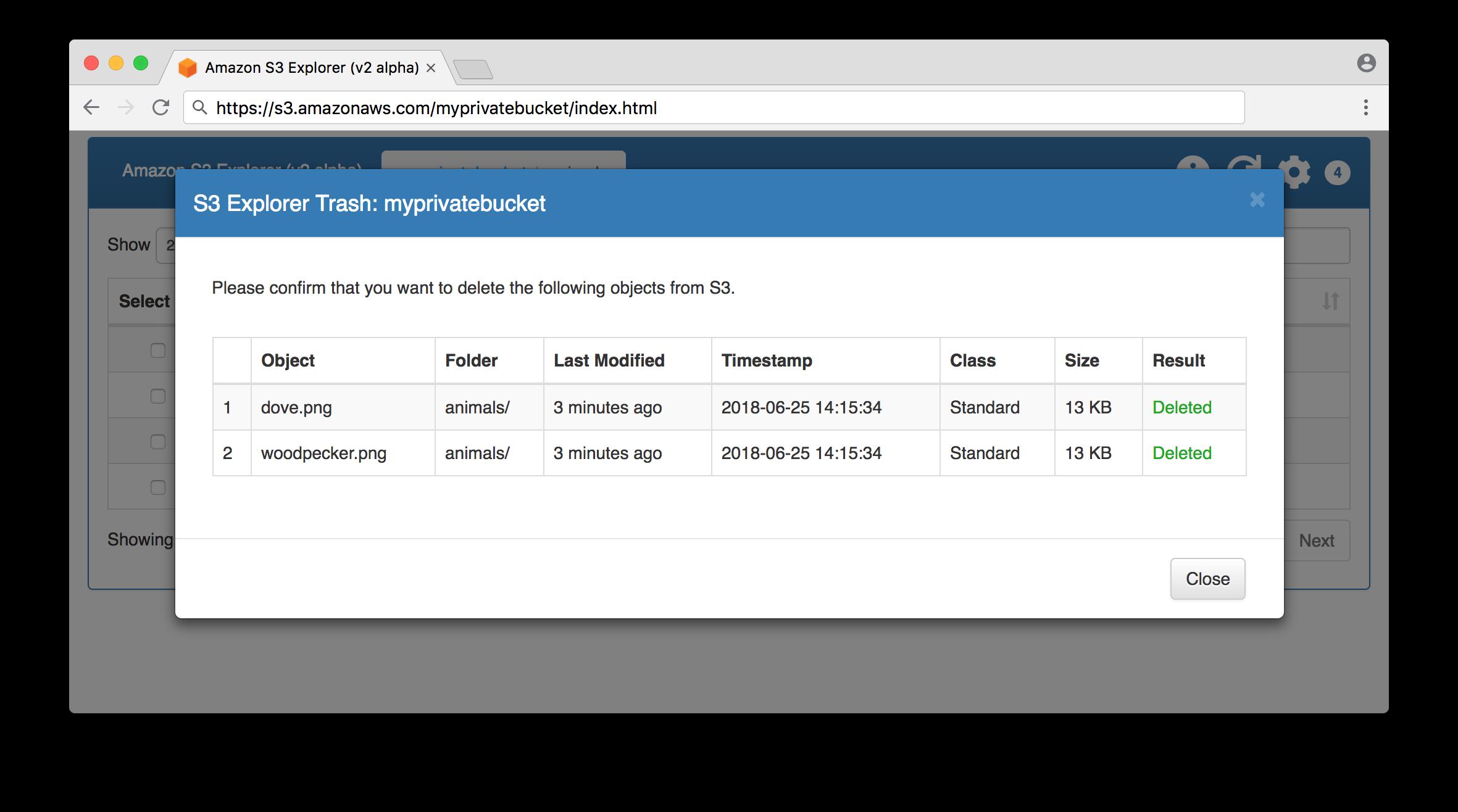 Bucket object delete confirmation screen