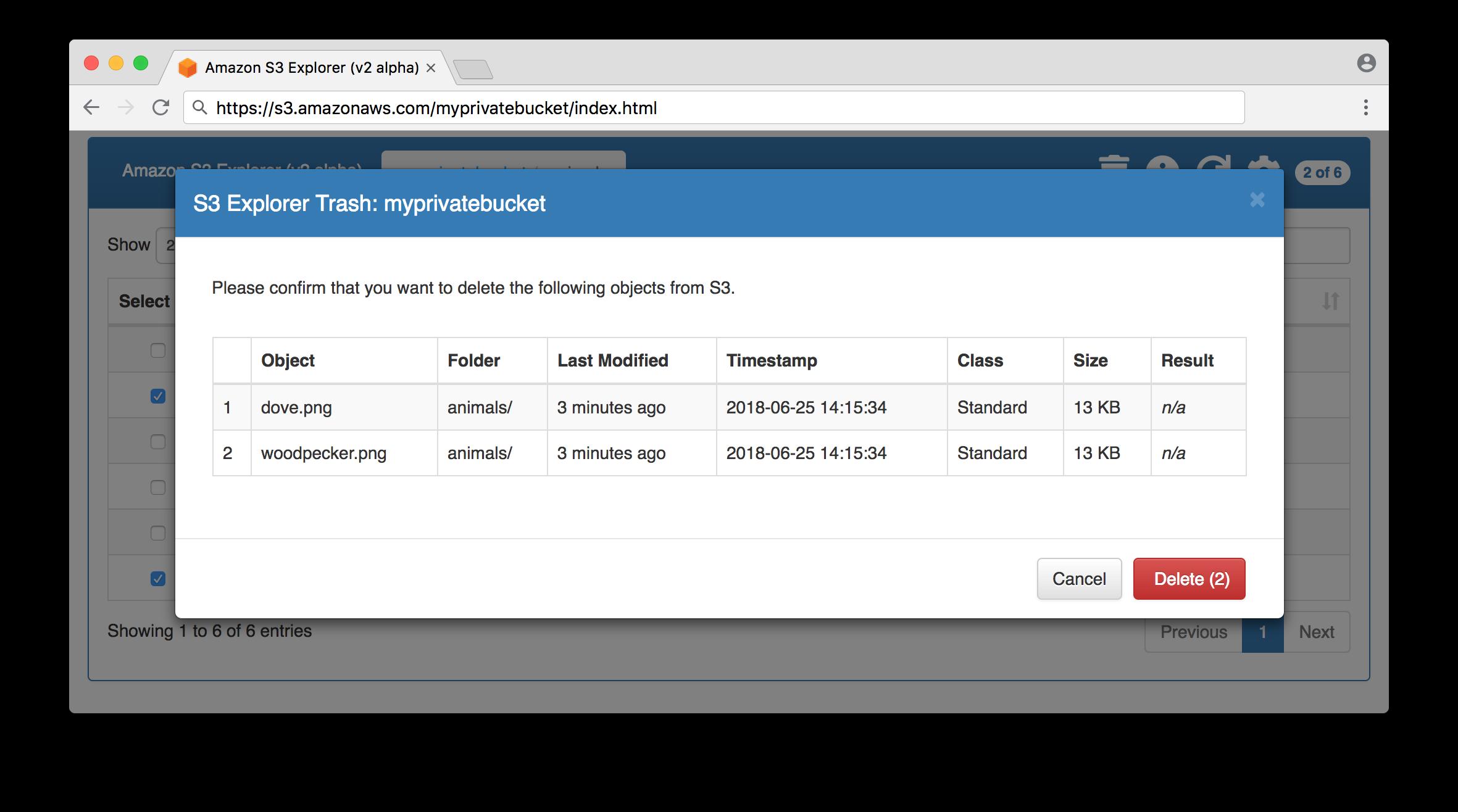 Bucket object delete request screen