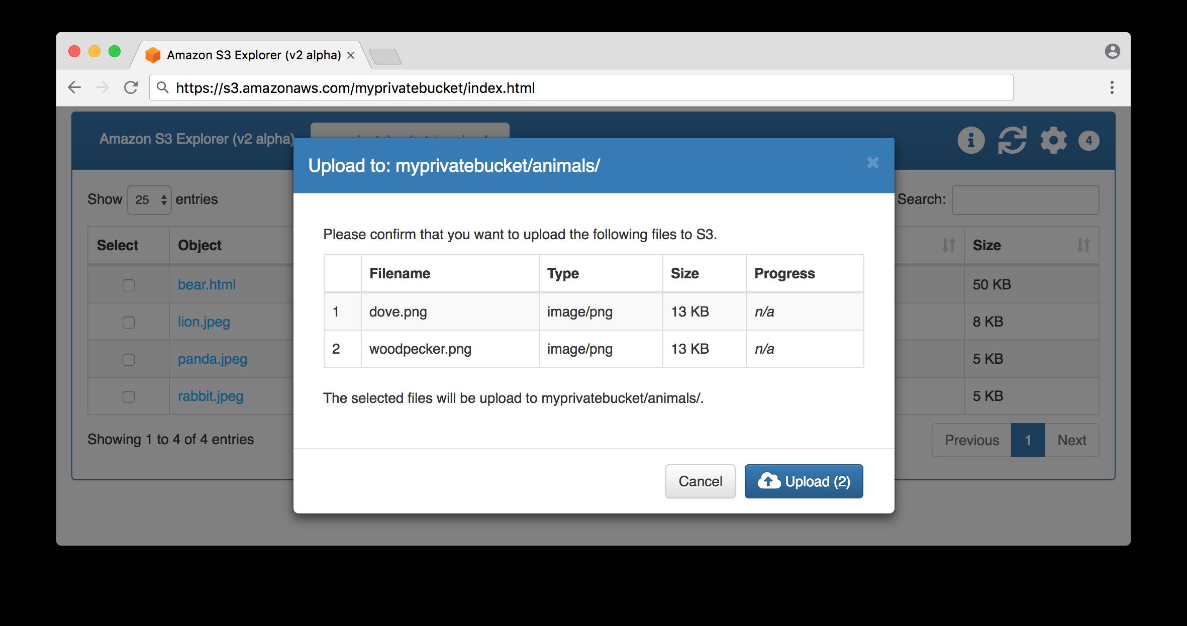 Bucket upload request screen