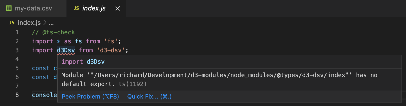 Code with TypeScript error message