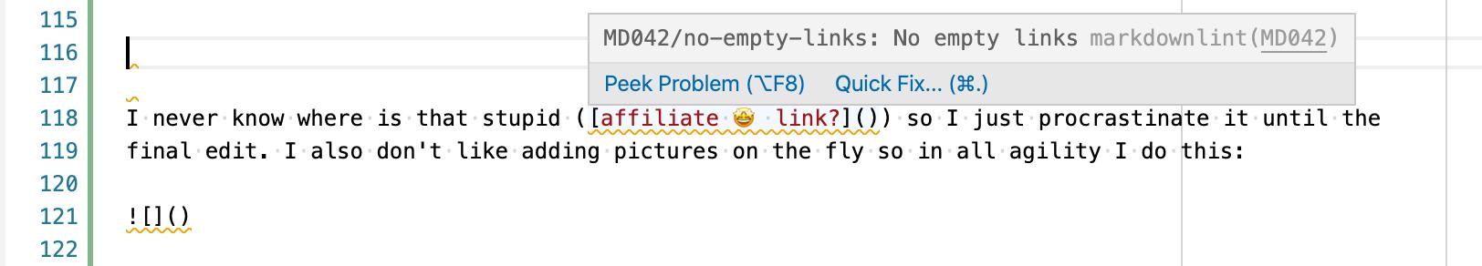 markdownlint validation example