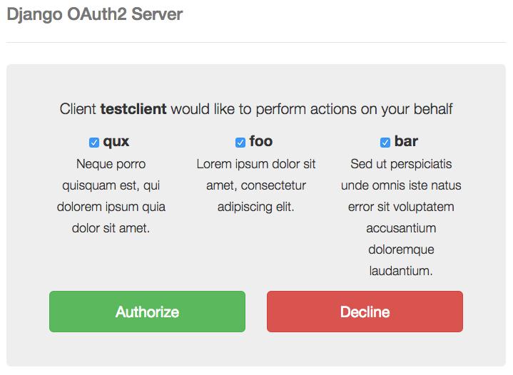 Authorization page screenshot