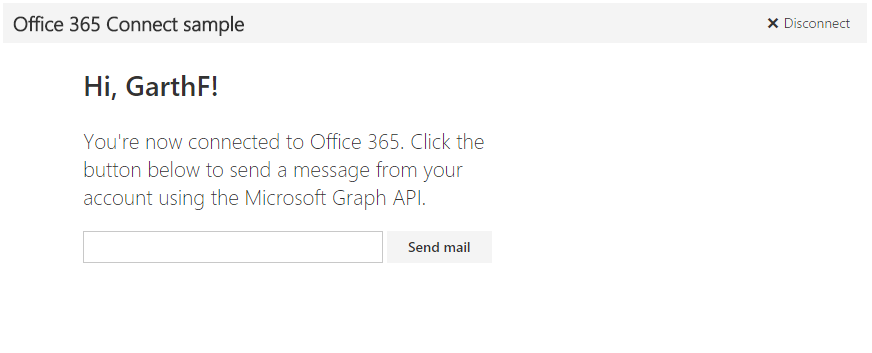 Office 365 Node.js Connect sample screenshot