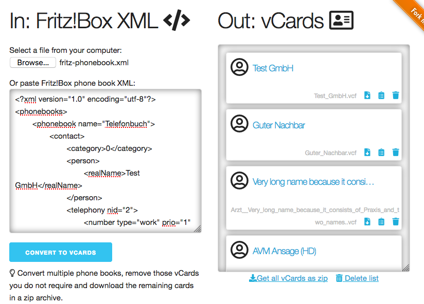 GitHub - Rillke/fritzXML2vcard: Convert FRITZ!Box address