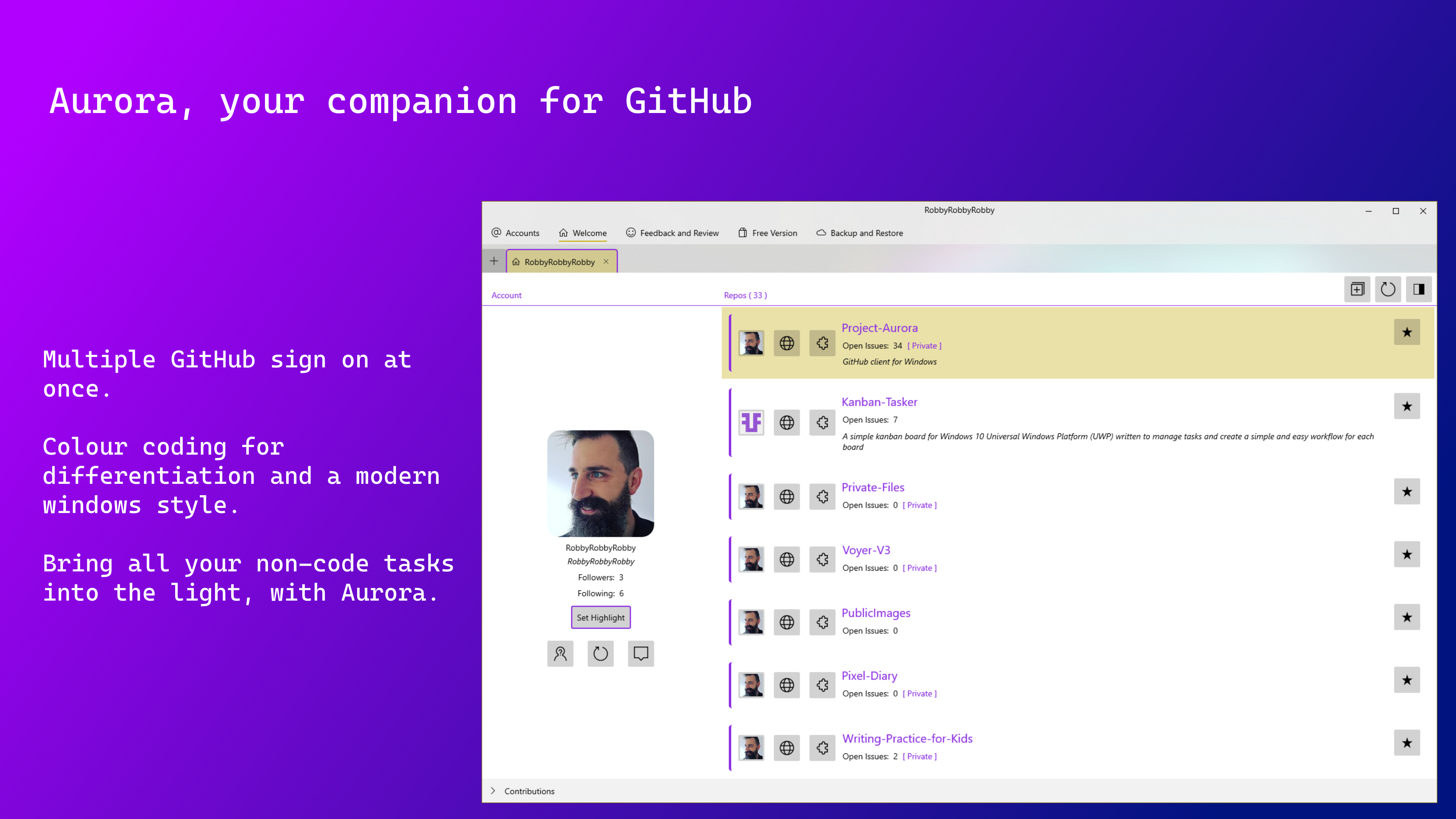 Preview image for Aurora for GitHub