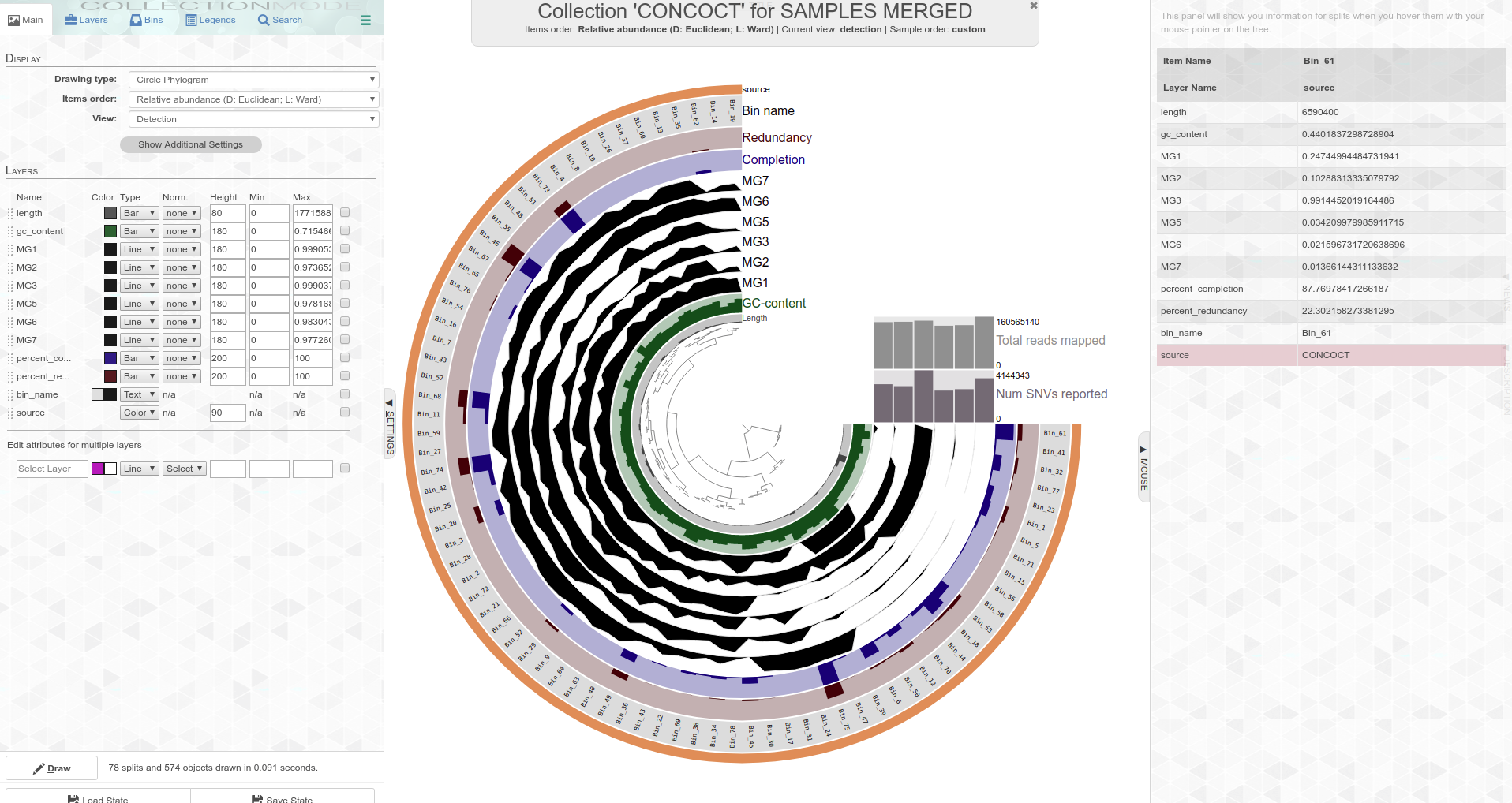 Screencap of circular phylogram interactive plot interface