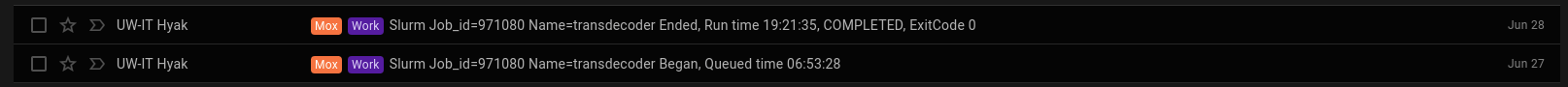 Screencap of Mox Transdecoder run time