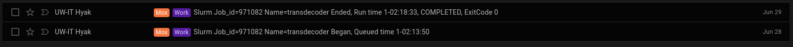 Screencap of Mox Transdecoder run time