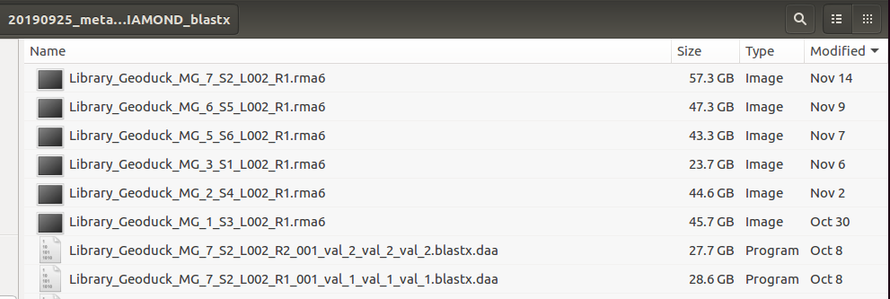 screencap of RMA6 file sizes