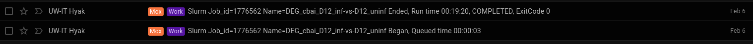 Mox runtime for D12 infected vs D12 uninfeced