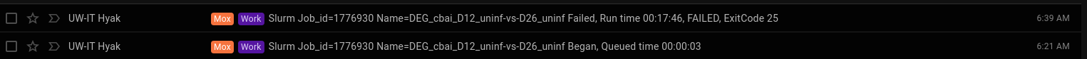 D12 uninfected vs D26 uninfected runtime