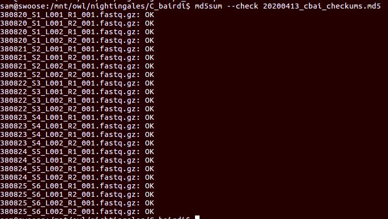 checksum verification screenshot