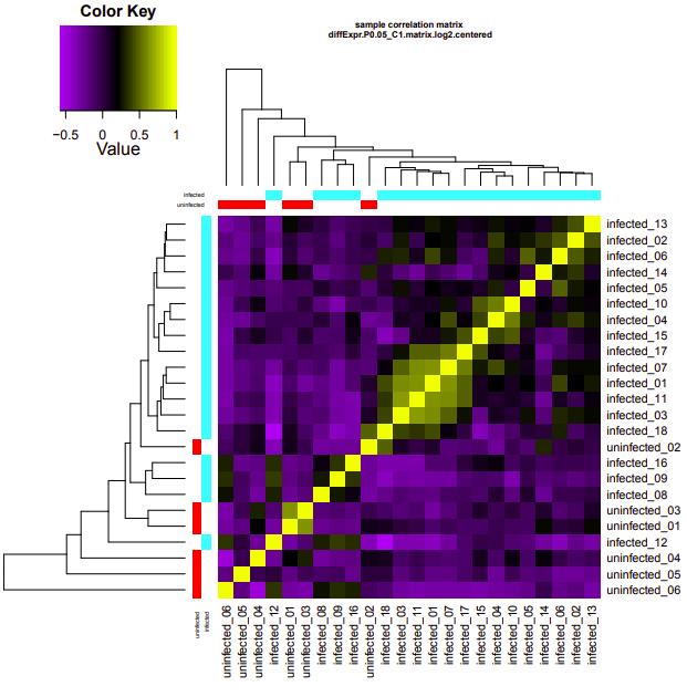 infected-uninfected correlation heatmap