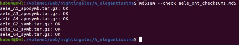 Screencap of checksum verification after rsync to Owl