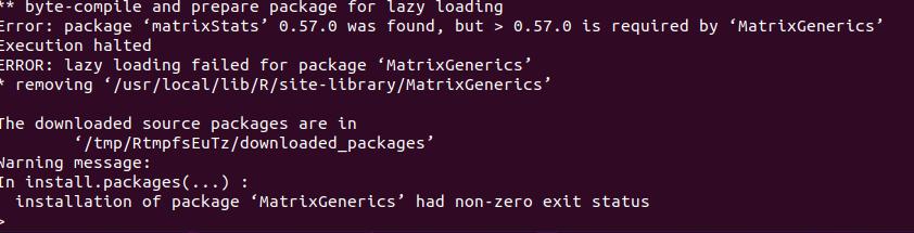 matrixStats version too old