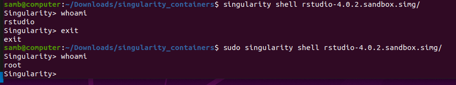 screenshot showing differences in singularity with/without sudo