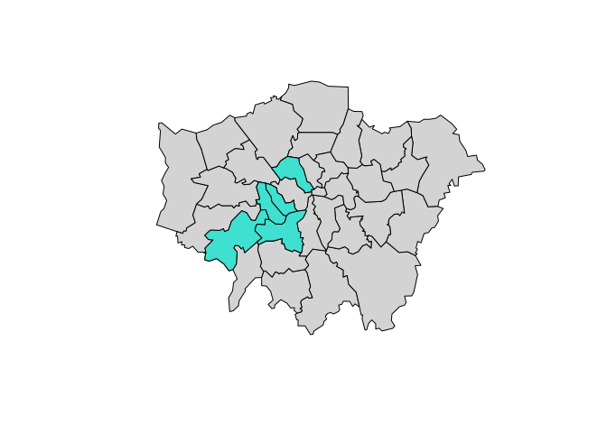 Simple plot of London with areas of high sports participation highlighted in blue