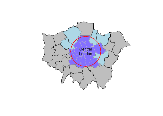 Zones in London whose centroid lie within 10 km of the geographic centroid of the City of London. Note the distinction between zones which only touch or 'intersect' with the buffer (light blue) and zones whose centroid is within the buffer (darker blue).