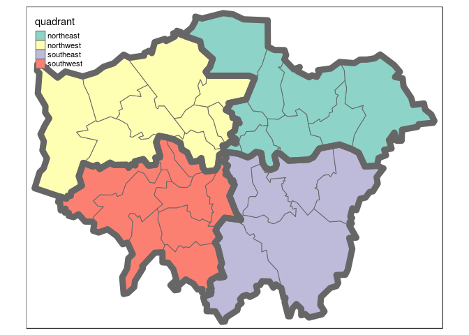 The 4 quadrants of London and dissolved borders. Challenge: recreate a plot that looks like this.