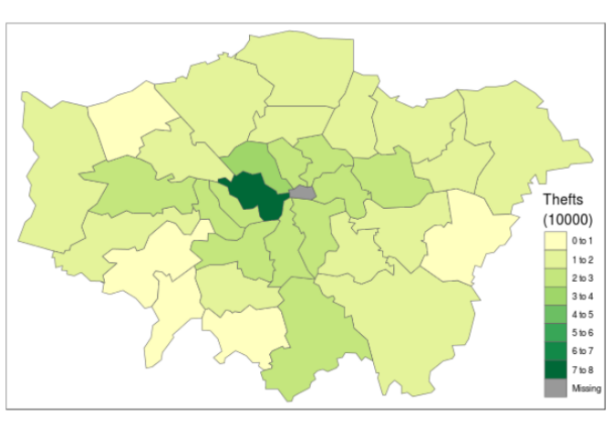 Number of thefts per borough.