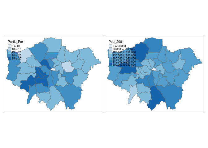 Side-by-side maps of sports participation and population