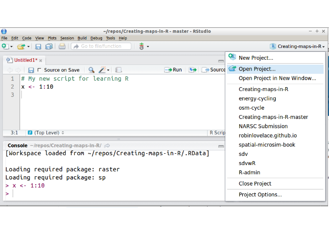 The RStudio environment with the project tab poised to open the Creating-maps-in-R project.