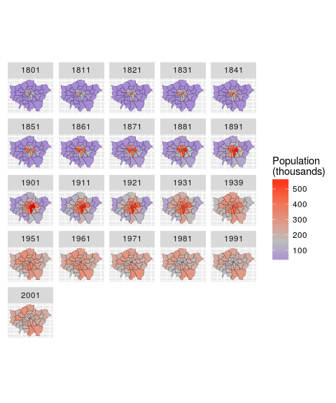 Faceted plot of the distribution of London's population over time