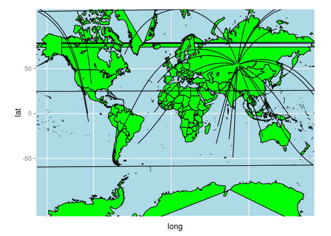 Ggplot World Map.Great Circles On A World Map With Rworldmap And Ggplot2 Packages