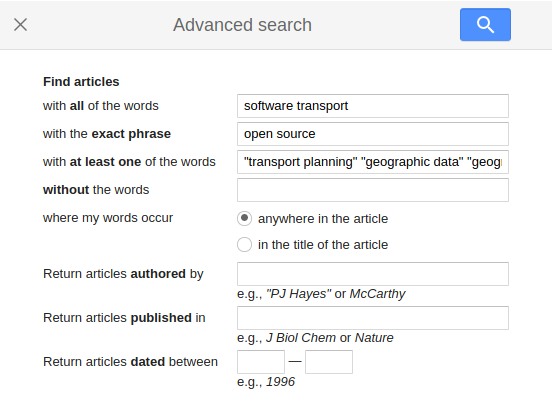 Illustration of the Google Scholar search terms used to identify open source software for geographic analysis in transport planning.