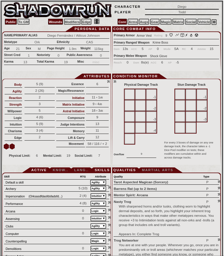 Shadowrun 5e v1 25 Sheet Updates   Emerald Grid on Patreon