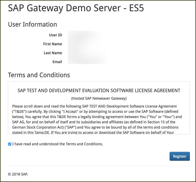 Gateway Demo web based sign up form