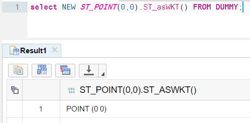 Select a point as WKT