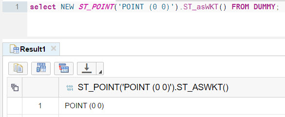Select a point as WKT defined as WKT