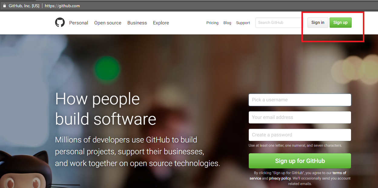 Sign in or sign up to your GitHub account