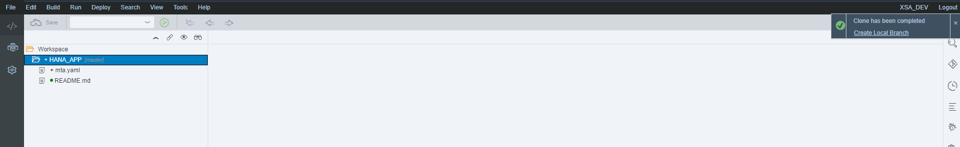Git is cloned into SAP HANA Web IDE