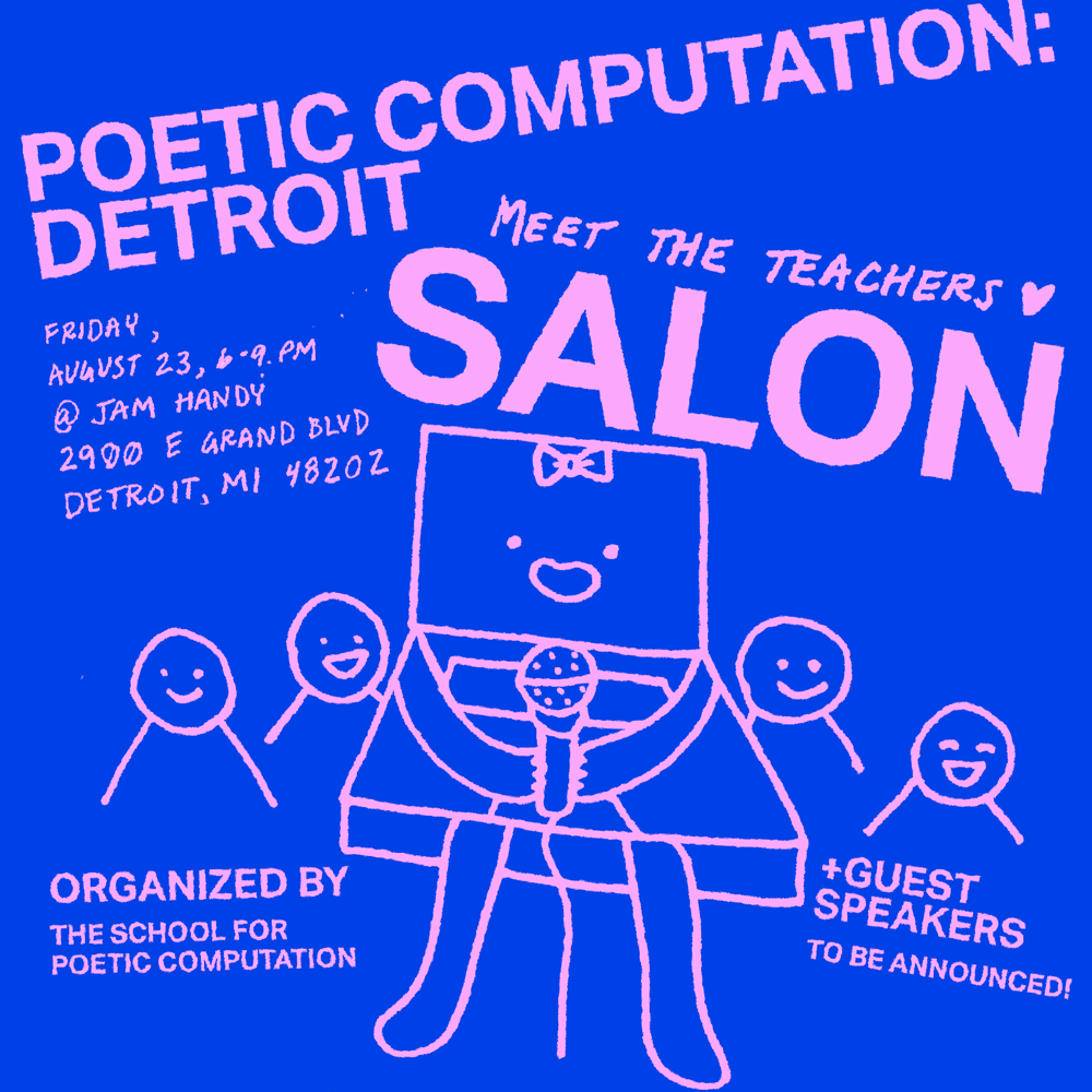 A square flyer of a drawing of a laptop character who is holding up a microphone and surrounded by a crowd of smiling blobs. The drawing and text are colored baby pink while the background is chroma key blue. The poster has all the event details written on it in serif capital font and hand written text.