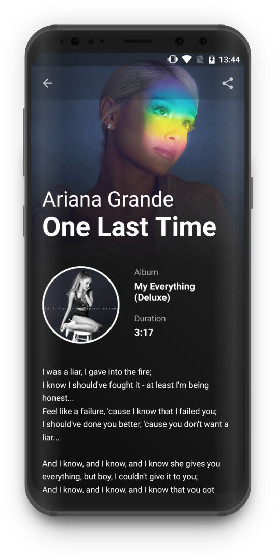 Lyrics King - Details screen, Ariana Grande