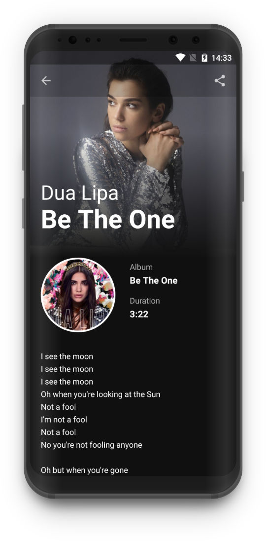 Lyrics King - Details screen, Dua Lipa