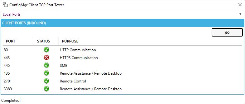 ConfigMgr Client TCP Port Tester