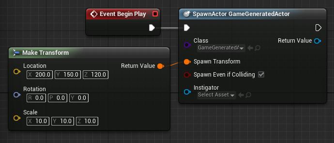 Level Blueprint spawning a GameGeneratedActor