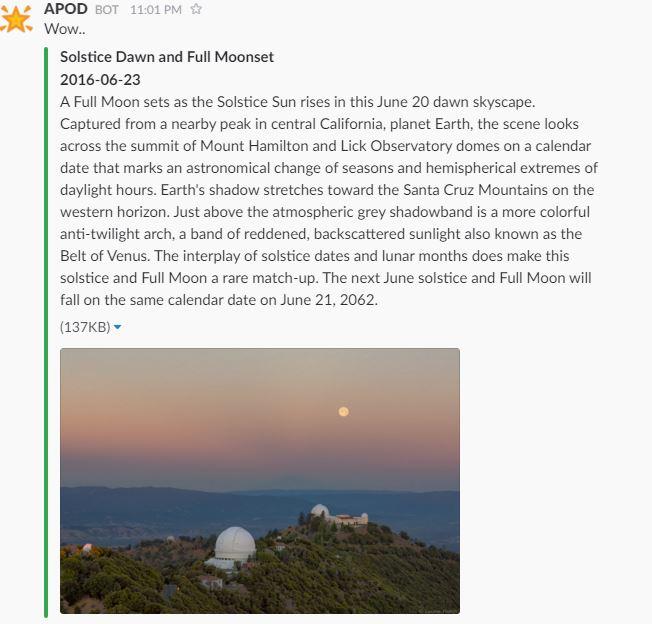 SSARCandy Slack For APOD Slack Bot That Post Astronomy