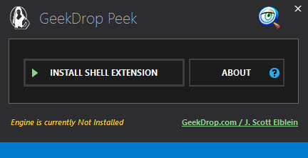 """The main window when no engine or context-menu item is installed. From here you basically just click that """"Install"""" button."""