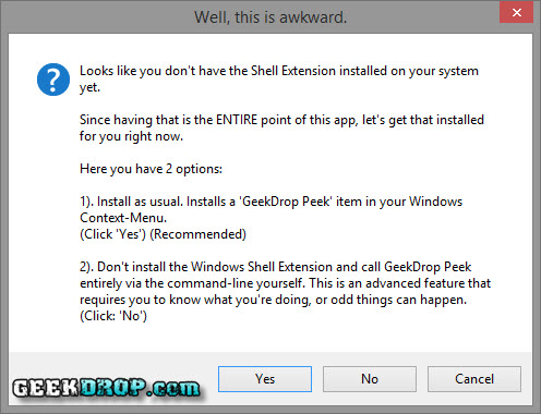 Second step, you're prompted to install the context-menu item.