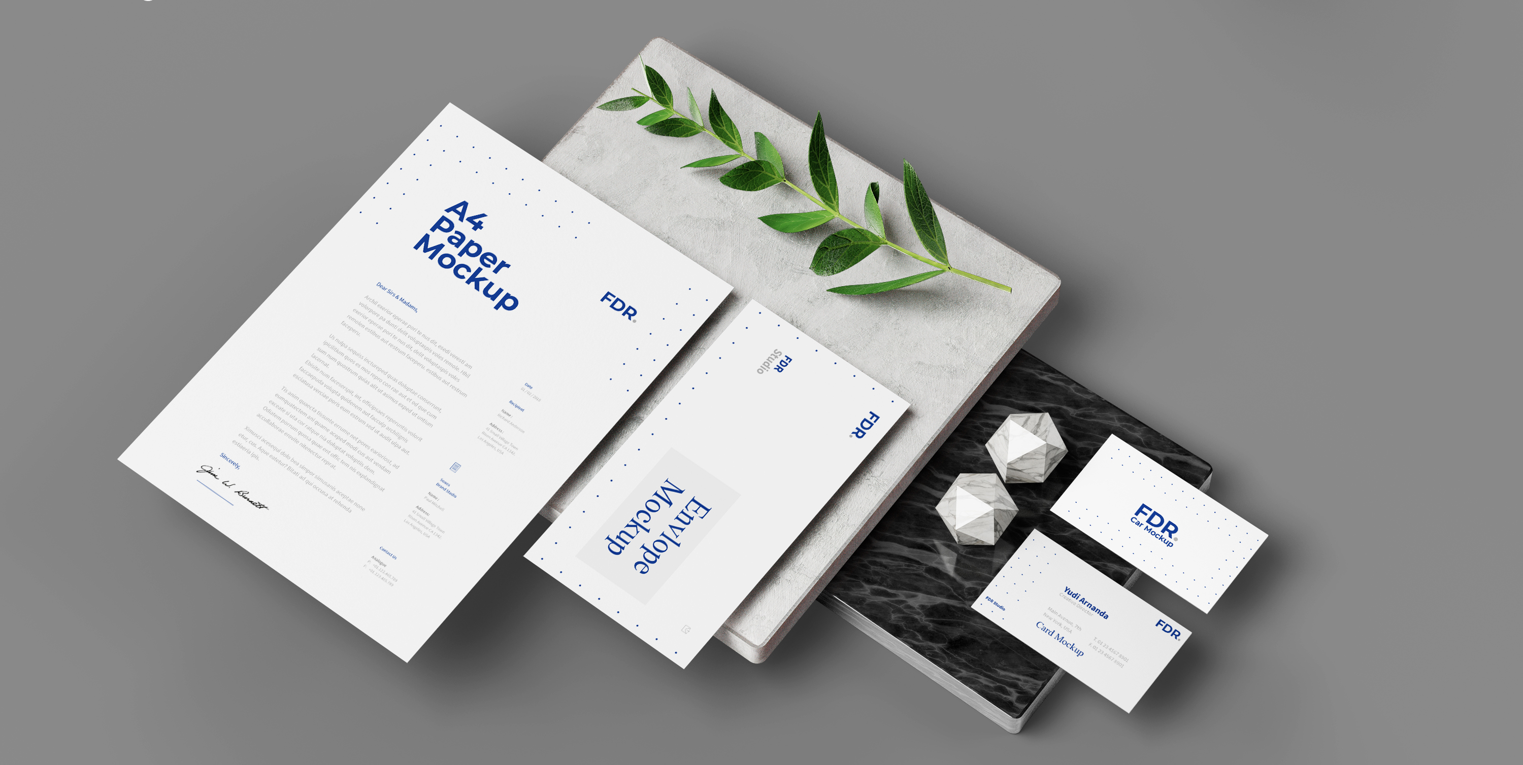 letterhead, business card and envelope
