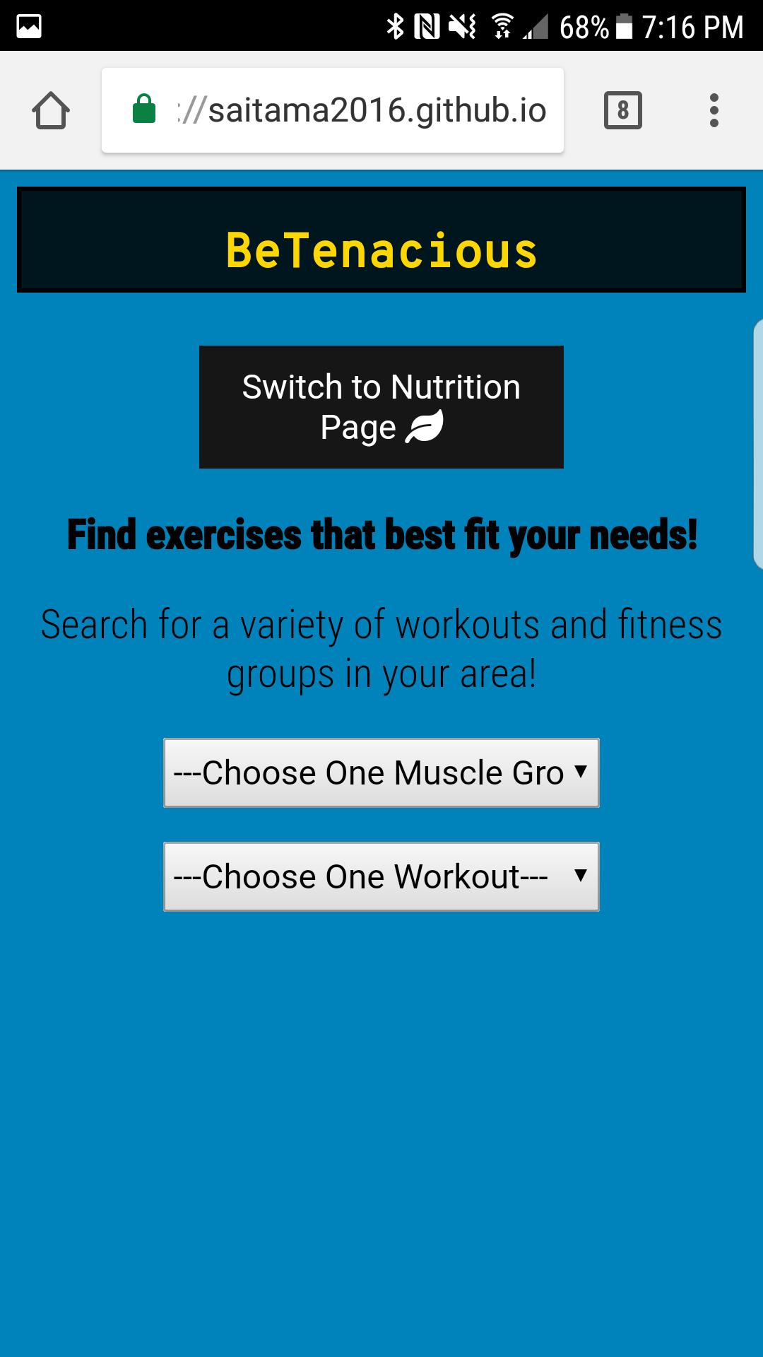 BeTenacious Workout Page