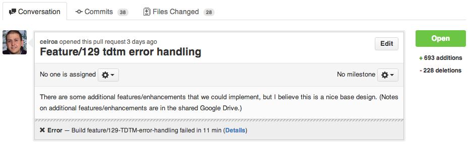 GitHub Commit Status Failing