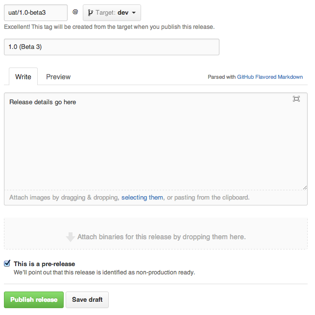 Github - Creating a UAT Release