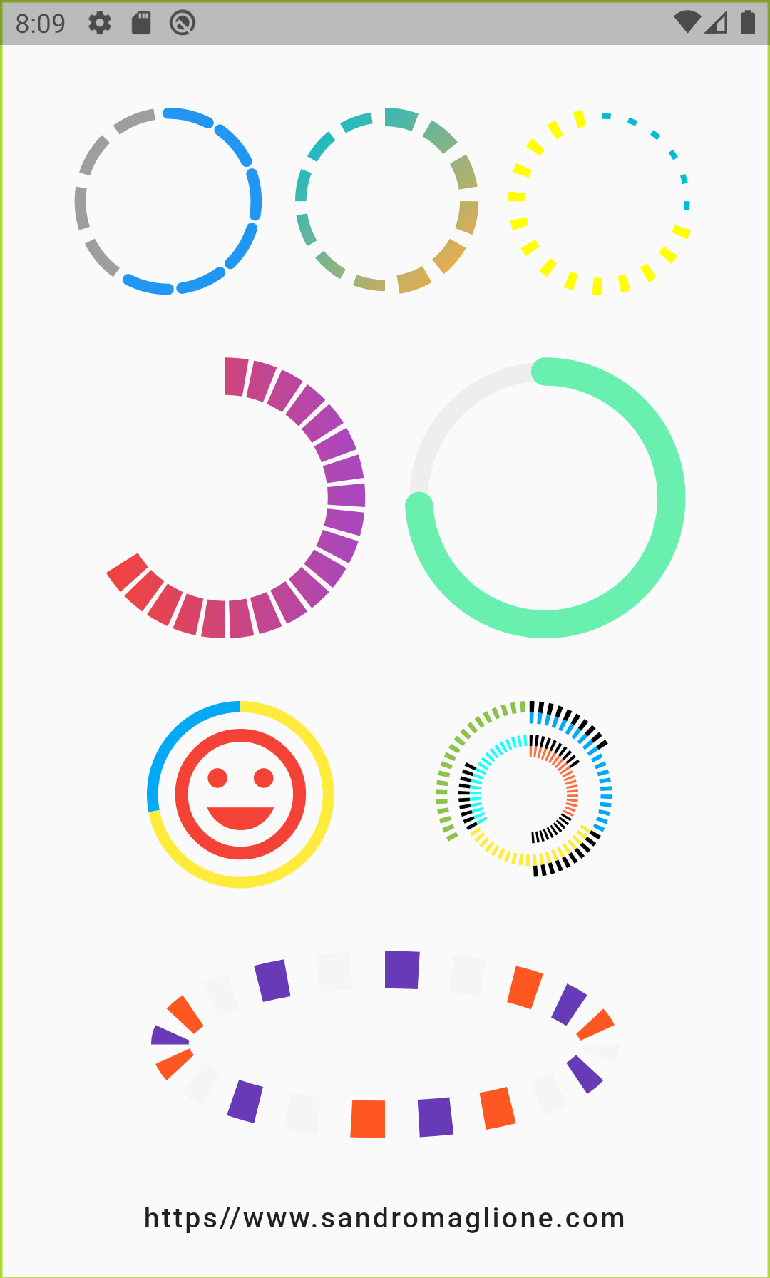 Circular step progress indicator screen 1