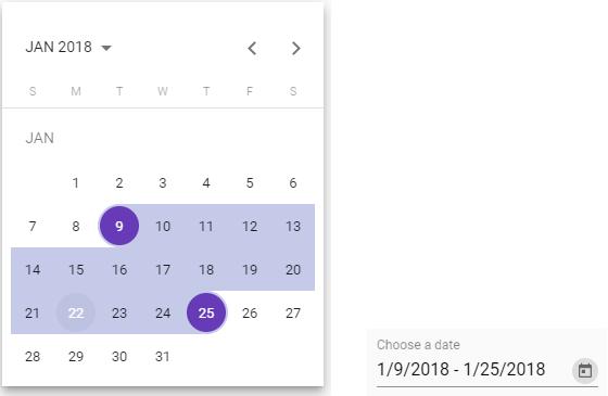 Screenshot of the Material date range picker