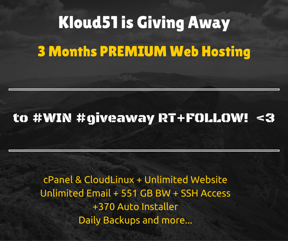 Giving Away 3 Months Premium Web Hosting - Retweet & Follow to WIN